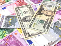 Background of american and euro money Royalty Free Stock Images