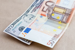 Background of American and European bills Royalty Free Stock Image