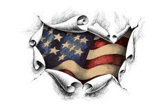 Background American flag through the paper Royalty Free Stock Images