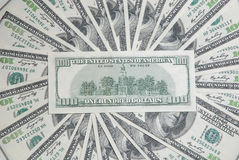 Background with american hundred dollar bills Stock Photos