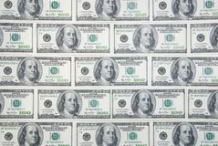 Background with american hundred dollar bills Stock Images