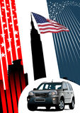 Background with american images and car Stock Image