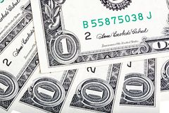A background with american one dollar bills. Close-up photo. A background with american one dollar bills. Close-up photo stock photography