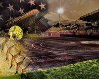 Background of an American softball field. At night ready for action Royalty Free Stock Image