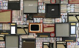 Background of amps and media Royalty Free Stock Photo