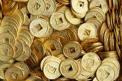 Background of ancient Chinese coins. Stock Photos