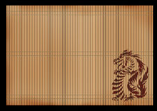 Background - an ancient Japanese mat with a dragon Stock Photo