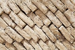 Background. Ancient wall pattern made with mudbrick Stock Image