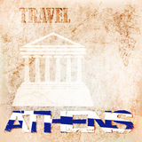 Background ancient wall, travel to Athens. vector illustration Stock Image