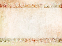 Background antique wall with cracks.vector illustration. Background antique wall with cracks with greek ornament meander.vector illustration Stock Photo