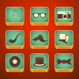 Background for the app icons set, hipster items Royalty Free Stock Photos