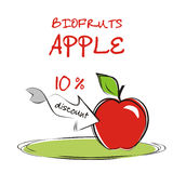 Background with apple. Vaucher discount for organic apple. Vector illustration Vector Illustration