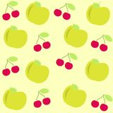 Background  with apple and cherry Stock Photos