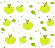Background with apple pattern, leaves and dots. Background with green apples, leaves and dots. Clean design of seamless apple pattern Royalty Free Stock Photo