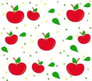 Background with apple pattern, leaves and dots. Background with red apples, leaves and dots. Clean design of seamless apple pattern Stock Photography