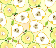 Background with apple and pear halves Royalty Free Stock Photography
