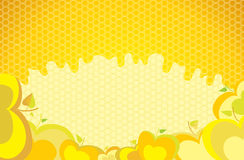 Background with apples and honey. Colored illustration. EPS 10.0. RGB. Illustration can be used as template for cafe, restaurants, food bar. Also can be use as Royalty Free Stock Photography