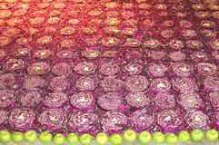 Background of apples and red cabbage Stock Image