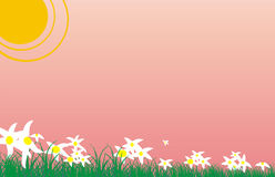 Background for April. A background for a calendar. It is executed in style of children's figure. Many white colors on a background of a dawn. The bright sun Stock Photo