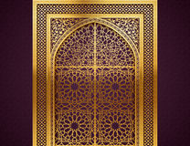 Background with Arabic Pattern. Ramadan background with golden arch, wit closed doors, with golden arabic pattern, background for holy month of muslim community royalty free illustration