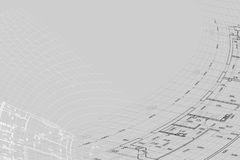 Background of architectural drawing. Part of abstract architectural project on the gray background Royalty Free Stock Photo