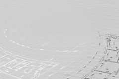 Background of architectural drawing. Part of abstract architectural project on the gray background Royalty Free Stock Image
