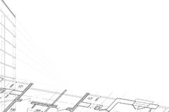 Background of architectural drawing. Part of abstract architectural project on the white background Royalty Free Stock Photos