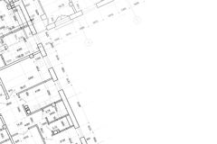 Background of architectural drawing. Part of abstract architectural project on the white background Stock Photography