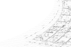 Background of architectural drawing. Part of abstract architectural project on the white background Royalty Free Stock Photo