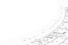 Background of architectural drawing. Part of abstract architectural project on the white background Royalty Free Stock Images
