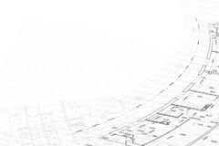 Background of architectural drawing. Part of abstract architectural project on the white background Stock Image