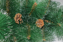 Background of artificial needles. Background of artificial pine needles closeup Stock Photo