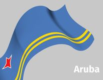 Background with Aruba wavy flag. On grey, vector illustration Royalty Free Stock Image