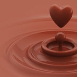 Background as a chocolate heart like drop. Abstract background as a chocolate cream glossy waves with a heart like drop in the center stock illustration
