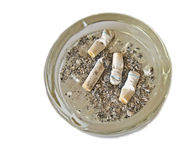 Background with ashtray with cigarettes and ash Stock Photo
