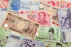 Background of asian currency Royalty Free Stock Photos