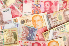 Background of asian currency. Royalty Free Stock Images