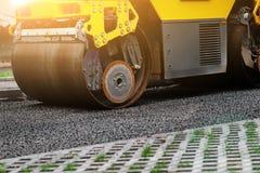 Background of asphalt roller that stack and press hot asphalt. Road repair machine.  Stock Images
