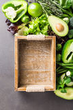 Background with assorted green vegetables Stock Image