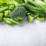 Background with assorted green vegetables Royalty Free Stock Images