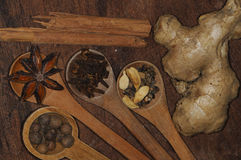 Background with assorted spices Stock Photography