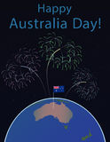 Background of Australia Day , National Celebration Card, , on a globe the planet Earth, in space Flag and salute. Background of Australia Day , National Royalty Free Stock Image