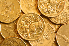 Background of Australian One Dollar Coins. Full-frame of Australian bronze one dollar coins stock photo