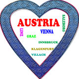 Background. Austria in the Europe and Austrias cities as background, with form of the heart Stock Photography