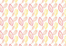 Background of autumn color theme leaves. A hand drawn of leaves seamless background with water color and pencil effect. Comes in autumn theme color Stock Image