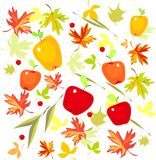 Background with autumn leaves and apples Royalty Free Stock Image