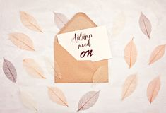 background in autumn pastel colors with leaves, letter and copy Stock Photos