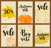 Background for autumn sale. Set of autumn vector cards for seasonal sale. Autumn backgrounds Stock Photos