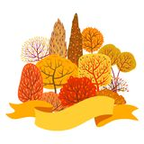 Background with autumn stylized trees. Landscape seasonal illustration Stock Illustration