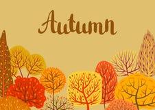 Background with autumn stylized trees. Landscape seasonal illustration Stock Images